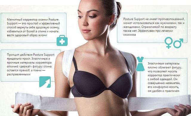 Плюсы корсета magnetic posture support