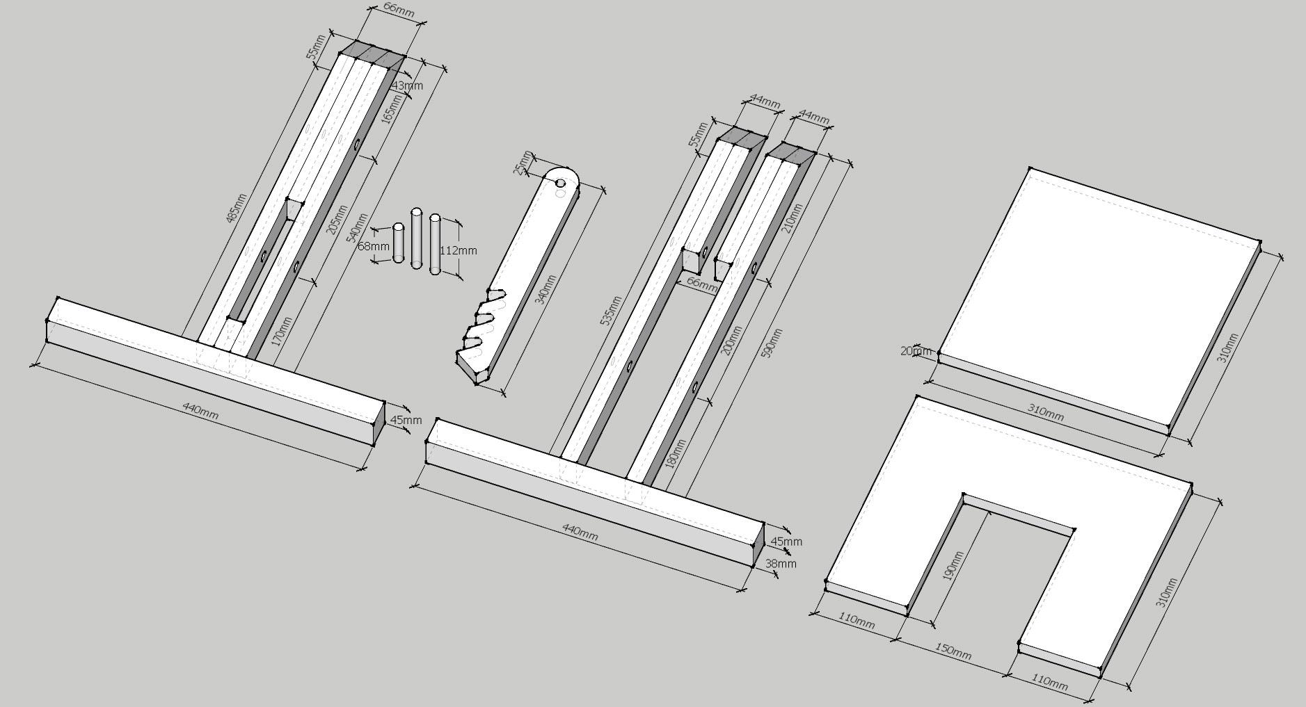 чертеж коленного стула
